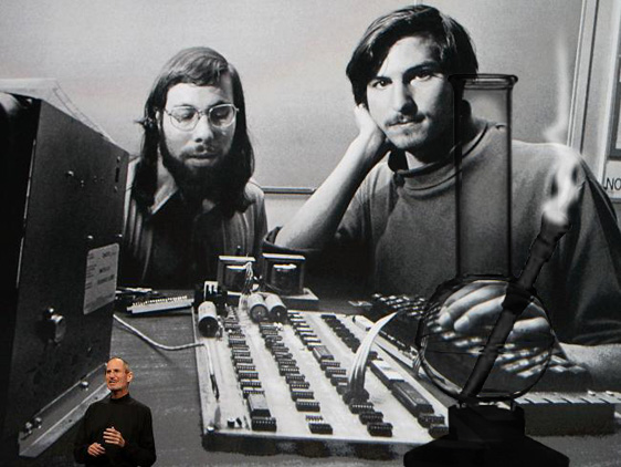 "Jobs showed an old press photo of him and Wozniak and the ""iBong"" as they called it."